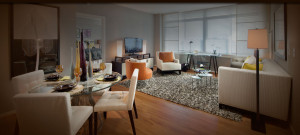 furnished living room apartment interior