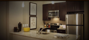 View of a kitchen in an apartment at The Yards at Fieldside