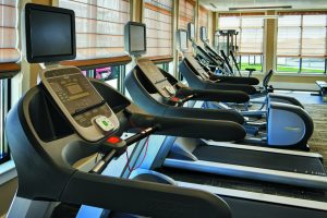 Treadmills at the fitness center of The Yards at Fieldside Village apartments.
