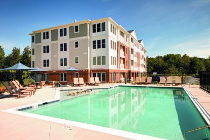 The saltwater pool at The Yards at Fieldside Village apartment community.